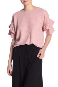 French Connection Sudan Textured Ruffle Sleeve Top