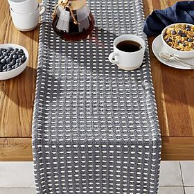 "Silas Indigo 90"" Woven Table Runner"