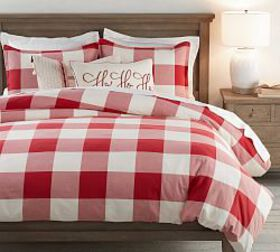 Buffalo Check Duvet Cover & Sham - Cherry/Ivory
