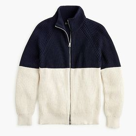 Knit cotton funnelneck zip-up sweater-jacket in co
