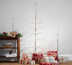 Pre-lit Stick Snowy Crystal Trees on sale at Pottery Barn