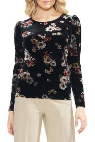 Vince Camuto Floral Story Puff Sleeve Stretch Velv