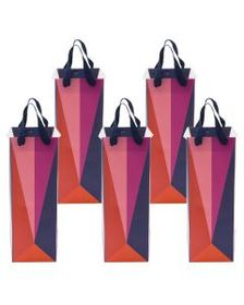 Set of 5 Lush Color Block Origami Geo Wine Gift Ba