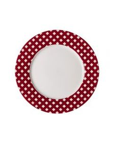 Checkered Red Salad Plate
