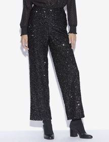 SEQUIN-STUDDED WIDE-LEG TROUSER