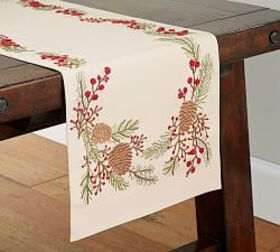Pinecone & Berry Embroidered Table Runner