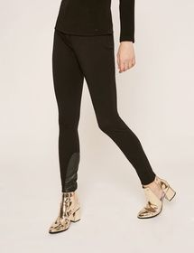 FAUX-LEATHER PANELED LEGGINGS