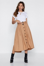 Button It Midi Skirt