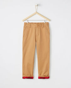 Flannel Lined Chinos In Peached Twill
