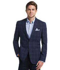 1905 Collection Tailored Fit Plaid Sportcoat CLEAR