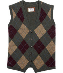 1905 Tailored Fit Olive Argyle Sweater Vest CLEARA