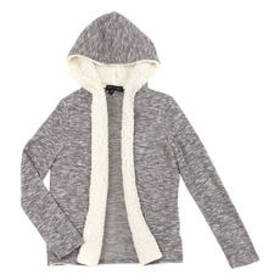 Girls (7-16) Derek Heart Sherpa Trim Hooded Cardig