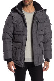 Ben Sherman Quilted Detachable Hood Parka