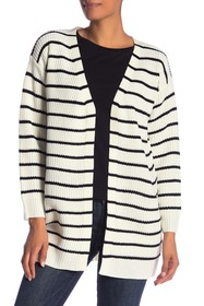 Max Studio Striped Shaker Open Front Cardigan