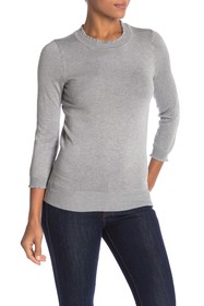Max Studio Mock Neck Ribbed Knit Sweater
