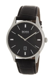 BOSS Governor Croc Embossed Leather Strap Watch