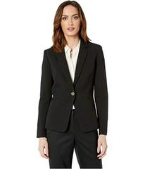 Tahari by ASL Crepe One-Button Long Sleeve Jacket