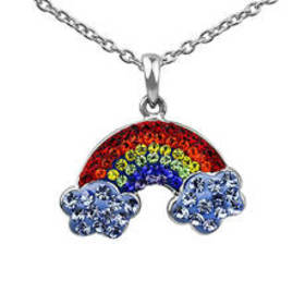 Womens Silver Plated Multi Color Crystal Rainbow P