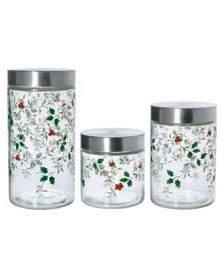 Set of 3 Glass Canisters with Stainless Steel Lids