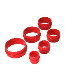 6 Piece Red Two Sided Cookie Cutter Set