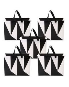Set of 5 Black and White Color Block Medium Origam