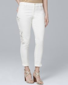 Curvy Embroidered Crop Skinny Jeans