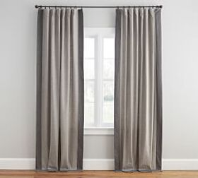 Emery Linen Framed Border Drape - Gray/Charcoal