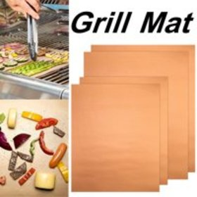 4Pcs Copper Chef Grill and Bake Mats BBQ Reusable