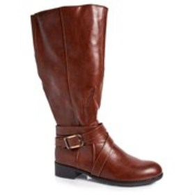 Womens Wide Calf Riding Boots with Ankle Straps
