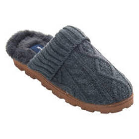Womens NY Lites Cable Knit Scuff Slippers