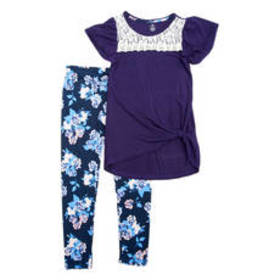 Girls (7-16) One Step Up Lace Yoke Knot Front & Le