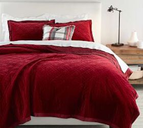 Washed Velvet Silk Blend Quilt & Sham - Ruby