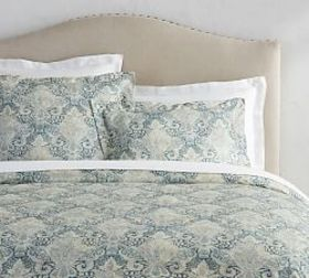 Janelle Scroll Duvet Cover & Sham - Blue