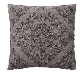 Drew Embroidered Pillow Cover - Gray