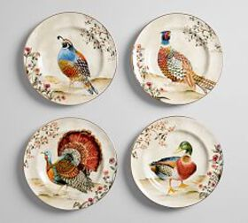 Botanical Harvest Bird Salad Plate, Set of 4 - Mix