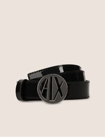 BELT WITH ROUND LOGOED BUCKLE