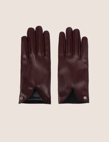 CUTOUT DETAIL FAUX-LEATHER GLOVES
