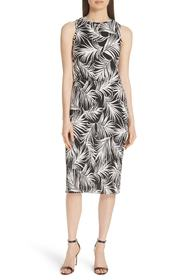 BOSS Emago Palm Print Sheath Dress