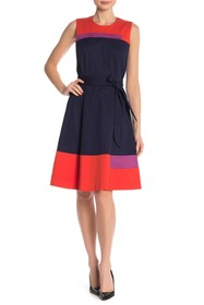 BOSS Colorblock Sleeveless Stretch Dress