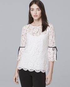 Three-Quarter Flare Sleeve Lace Top
