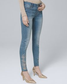 Classic-Rise Paisley-Embellished Skinny Ankle Jean