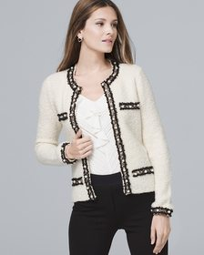 Faux Pearl-Detail Sweater Jacket