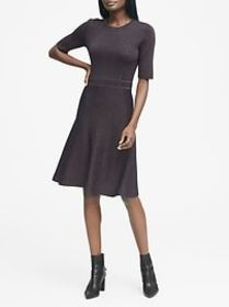 Metallic Fit-and-Flare Sweater Dress