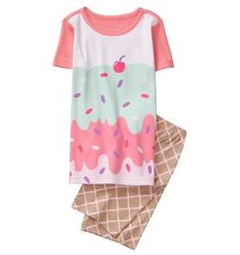Ice Cream 2-Piece Shortie Pajamas
