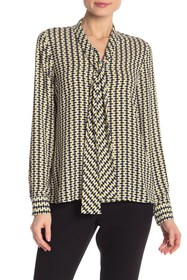 BOSS Rivasa Long Sleeve Front Tie Print Blouse