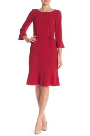 BOSS Henry 3/4 Sleeve Solid Dress