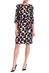 BOSS Dilamy 3/4 Sleeve Waist Tie Print Dress