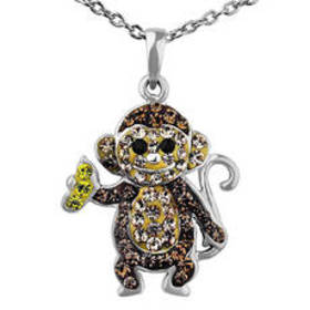 Womens Silver Plated Multi Color Crystal Monkey Pe