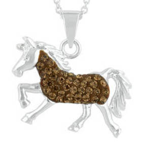 Womens Silver Plated Brown Crystal Horse Pendant