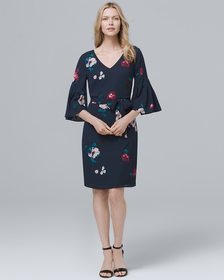Bell-Sleeve Soft Floral-Print Shift Dress